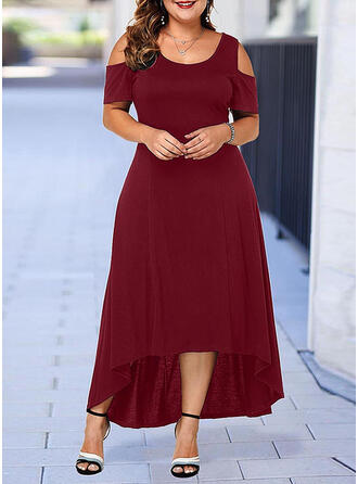Solid Short Sleeves A-line Asymmetrical Little Black/Casual/Plus Size Dresses