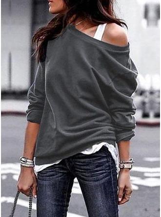 Plain One Shoulder Long Sleeves Casual Blouses