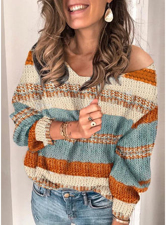 Striped One Shoulder Sweaters