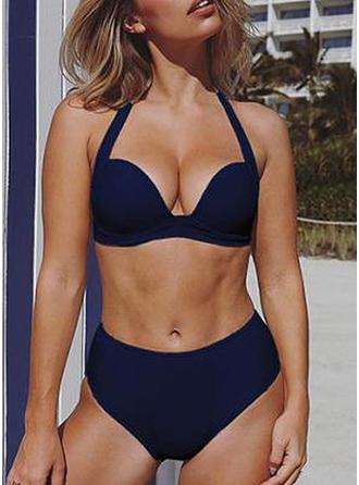 Couleur Unie Taille Haute Dos Nu Sexy Bikinis Maillots De Bain