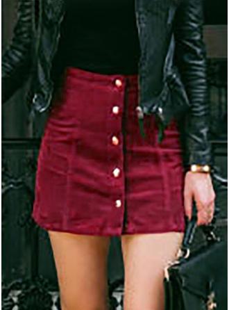 Polyester Einfarbig Über dem Knie Bodycon Röcke