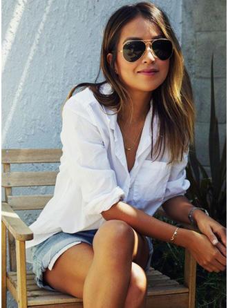 Bawełna Lapel Jednolity kolor Długie rękawy Koszula Bluzki
