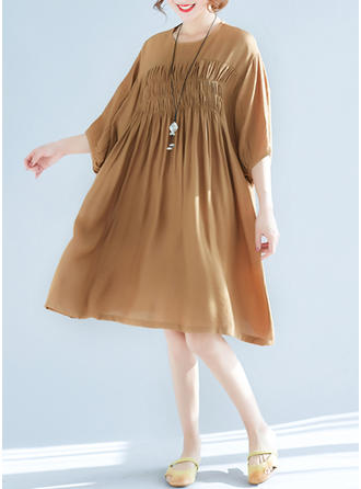Solid Ruffles Round Neck Above Knee Shift Dress
