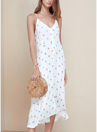 Print Sleeveless Sheath Midi Casual Dresses