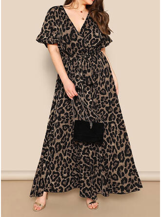 Leopard Short Sleeves A-line Casual/Plus Size Maxi Dresses