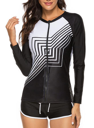 Stripe Long Sleeve Geometric Print Round Neck Sports Tankinis Swimsuits