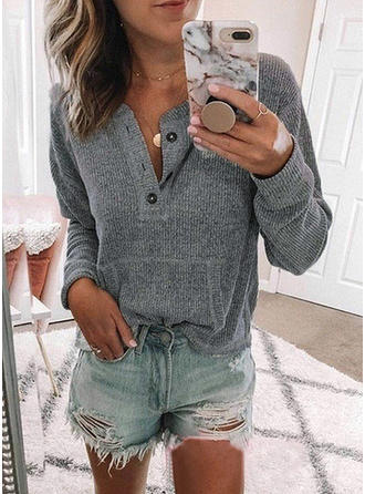 Solid Round Neck Knit Tops