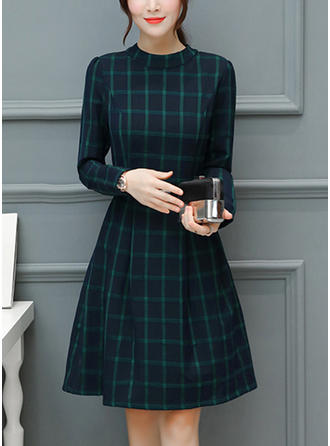 Plaid Long Sleeves A-line Knee Length Vintage/Casual Dresses