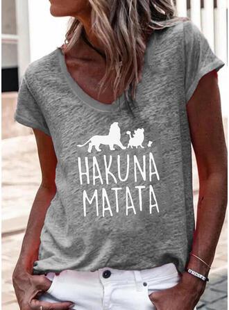 Estampado de animales Carta Cuello en V Manga Corta Camisetas