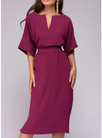 Solid 1/2 Sleeves Sheath Casual/Party/Elegant Midi Dresses