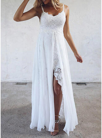 Lace/Solid Sleeveless A-line Slip/Skater Casual/Vacation Maxi Dresses