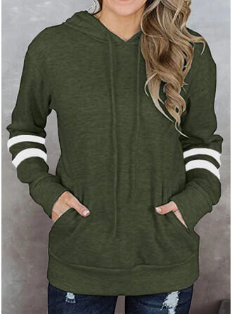 Rayures Capuche Manches Longues Sweat-shirt
