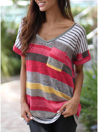 Print V Neck Short Sleeves Casual T-shirts