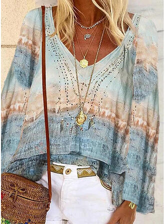 Print V-Neck Flare Sleeve Long Sleeves Casual Blouses (1003332372)