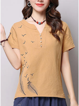 Cotton Linen V Neck Embroidery Short Sleeves Casual Blouses