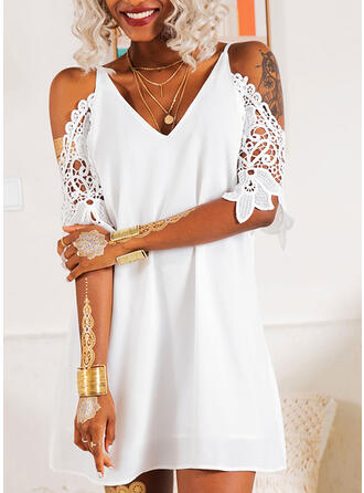 Lace/Solid 3/4 Sleeves/Cold Shoulder Sleeve Shift Above Knee Little Black/Party/Elegant Tunic Dresses