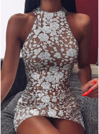 Lace/Solid Sleeveless Bodycon Above Knee Sexy/Party Dresses
