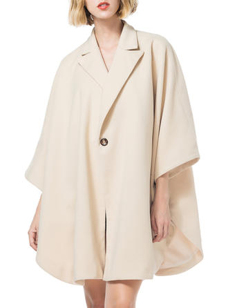 Polyester manches 3/4 Couleur unie Manteaux de Laine