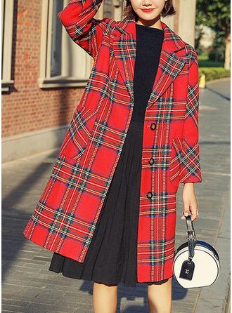 Knitting Long Sleeves Grid Woolen Coats
