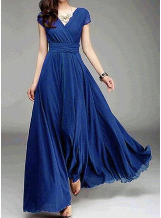 Solid Short Sleeves A-line Maxi Casual/Party Dresses
