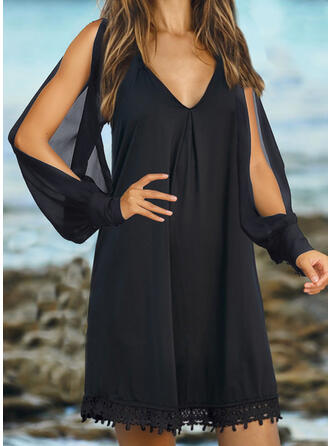 Lace/Solid Long Sleeves/Cold Shoulder Sleeve Shift Above Knee Little Black/Casual/Vacation Dresses