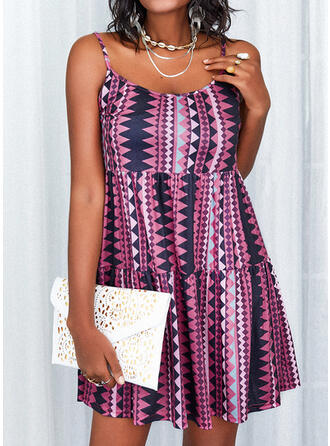 Print/Backless Sleeveless Shift Above Knee Casual Slip Dresses
