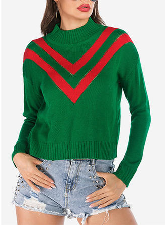 Color Block Ribbed Chunky knit Stand Collar Sweaters