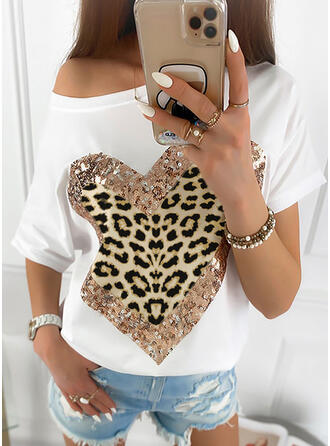 Print Sequins Leopard Heart One-Shoulder Short Sleeves Casual T-shirts