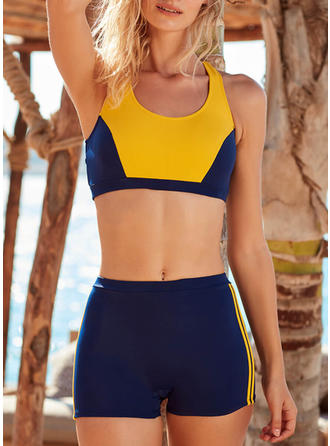 High Waist Splice color Strapless Eye-catching Casual Amazing Bikinis Swimsuits
