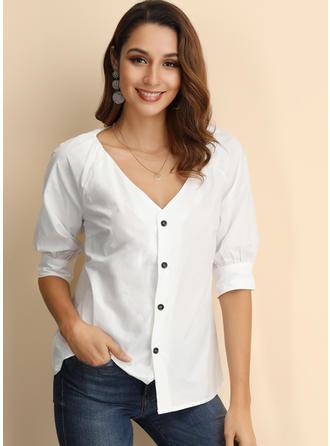 Solid V-hals Lange ermer Button up Casual Sexy Strikking Skjortebluser