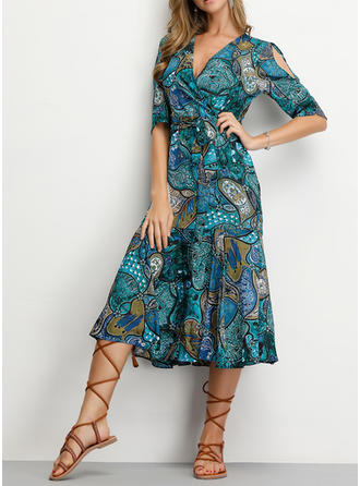 Print 1/2 Sleeves/Split Sleeve A-line Knee Length Casual/Elegant/Vacation Dresses
