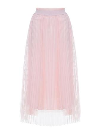 Mesh Einfarbig Maxi A-Linie Röcke