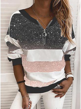 Color Block Print V-hals Lange Mouwen T-shirts
