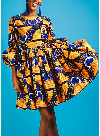 Print Round Neck Above Knee A-line Dress