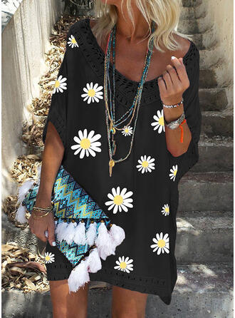 Blumen Drucken V-Ausschnitt Sexy Boho Strandmode Bademode