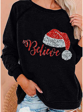 Sequins Figure Round Neck Long Sleeves Christmas Sweatshirt