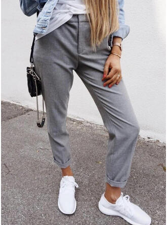 Solid Plus Size Casual Pants