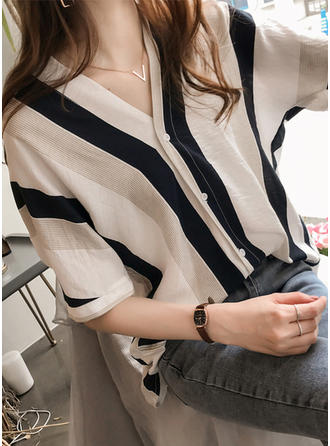 Cotton V Neck Striped Short Sleeves Casual Blouses