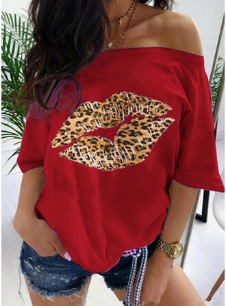 Leopard One-Shoulder 3/4 Sleeves Casual T-shirts
