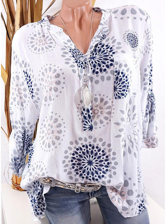 Cotton Blends V Neck Floral Long Sleeves Shirt Blouses