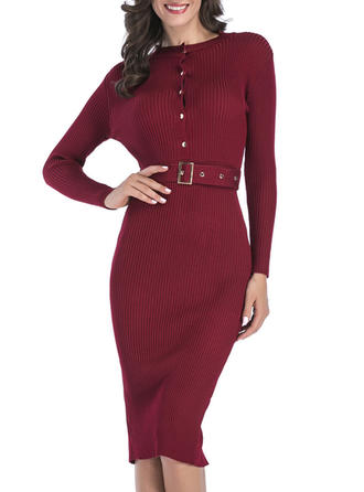 Solid Long Sleeves Bodycon Knee Length Sweater Dresses