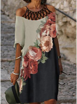 Impresión/Floral/Bloque de color Mangas 1/2 Tendencia Hasta la Rodilla Casual Túnica Vestidos