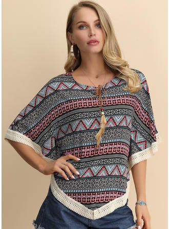 Print Round Neck Batwing Sleeve 1/2 Sleeves Casual Blouses