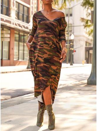 Druck Lange Ärmel Etui Asymmetrisch Freizeit Kleider