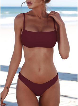 Solid Color Low Waist Strap Bikini Swimsuit