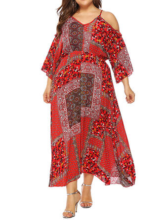 Print/Floral 3/4 Sleeves/Cold Shoulder Sleeve A-line Casual/Boho/Vacation/Plus Size Midi Dresses