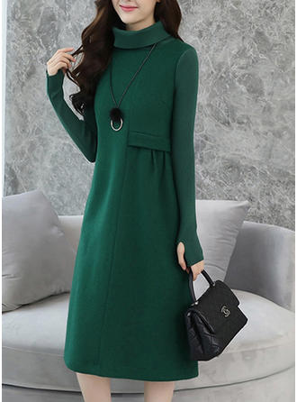 Solid Col Roulé Robe Pull