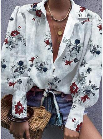 Druck Blumen Revers Lange Ärmel Lässige Kleidung Blusen