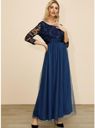 Lace 1/2 Sleeves A-line Maxi Casual/Party Dresses