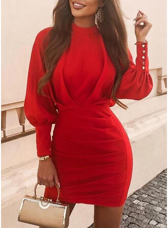 Solid Long Sleeves/Lantern Sleeve Bodycon Above Knee Little Black/Elegant Dresses
